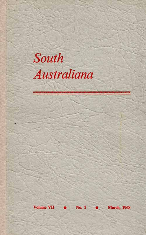 Image for South Australiana Volume VII No. 1 March, 1968