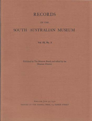 Image for Records of the South Australian Museum Volume IX No 3 (1950)
