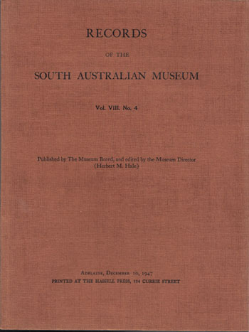 Image for Records of the South Australian Museum Volume VIII No 4