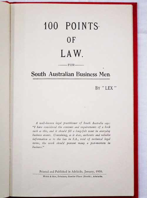 Image for 100 Points of Law for South Australian Business Men
