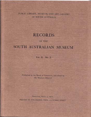 Image for Records of the South Australian Museum Volume II No 2
