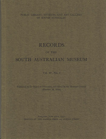 Image for Records of the South Australian Museum Volume IV No 3