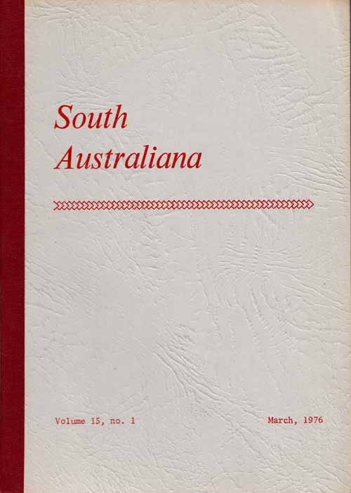 Image for South Australiana.  Vol. 15, No. 1. March, 1976