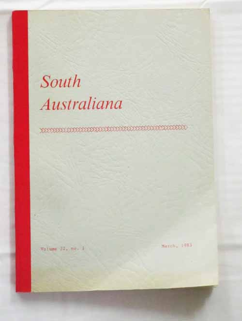 Image for South Australiana.  Vol. 22, No. 1. March, 1983