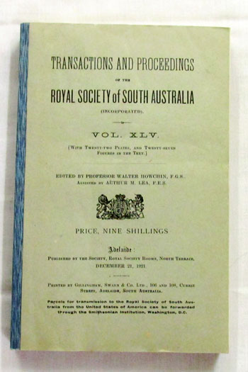 Image for Transactions of the Royal Society of South Australia Vol XLV [1921]