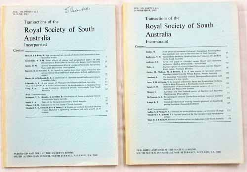 Image for Transactions of the Royal Society of South Australia Vol 109, Parts 1 & 2 1985 [2 Volumes]