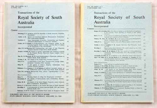 Image for Transactions of the Royal Society of South Australia Vol 108, Parts1-4, 1984 [2 Volumes]