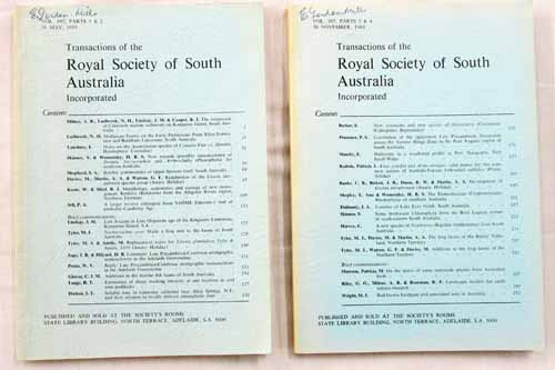 Image for Transactions of the Royal Society of South Australia Vol 107, Parts1-4, 1983 [2 Volumes]