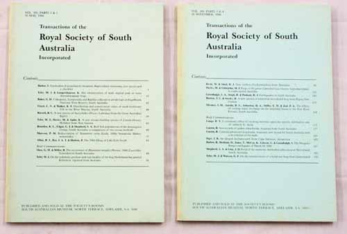 Image for Transactions of the Royal Society of South Australia Vol 110, Parts1-4, 1986 [2 Volumes]