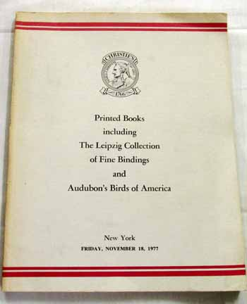 Image for Printed Books Including the Leipzig Collection of Fine Bindings and Audubon's Birds of America.