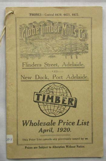 Image for Globe Timber Mills Co. Wholesale Price List April 1920