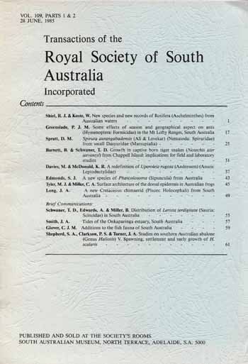 Image for Transactions of the Royal Society of South Australia Vol 109, Parts1& 2 1985