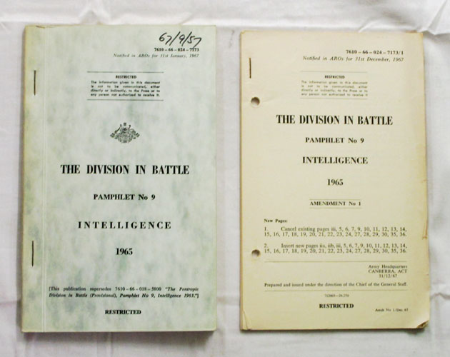 Image for The Division in Battle Pamphlet No 9 Intelligence 1965 togther with Amendment No 1