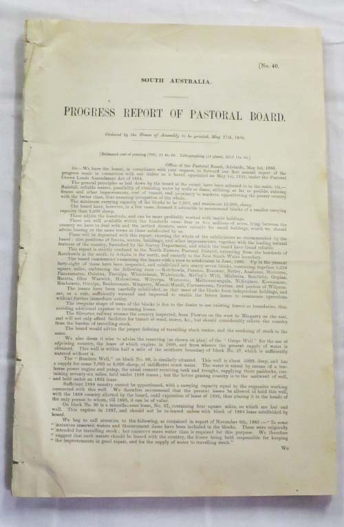 Image for Progress Report of Pastoral Board South Australia 1886 with 14 maps